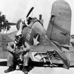 Ace Pilot Donald Burch of VMF-221 on his Damaged F4U-1 Corsair 125 (Bu No 02467) – Russell Islands 1943