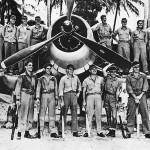 Boyington and crew of Black Sheep Squadron with F4U-1 1944