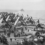 Corsairs and Barracuda torpedo bombers on the flight deck of HMS Formidable Norway