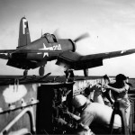 F4U-1D Corsair 238 of VBF-83 launches from the flight deck of USS Essex CV-9 – August 1945