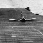 F4U-1D Corsair makes belly landing on the flight deck of the carrier USS Wasp CV-18 – Chichi Jima February 18, 1945