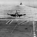 F4U-1D Corsair of VF-84 launches from the deck of the carrier USS Bunker Hill CV-17 – Iwo Jima February 19, 1945