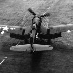 F4U-1D Corsair of VMF-112 on the flight deck of the USS Bennington CV-20 – February 10, 1945