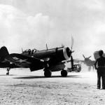 F4U-1D Corsair of VMF-114 taxis at Peleliu – September 1944