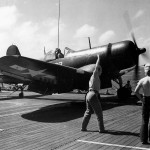 F4U-1D Corsair of VMF-224 on the catapult ready to launch from the escort carrier USS Sitkoh Bay CVE-86 – March 28, 1945