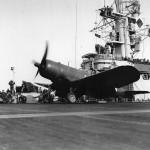 F4U-1D Corsair of VMF-511 launch from the escort carrier USS Block Island CVE-106 – February 5, 1945