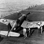 "F4U-1 Corsair 82 of VF-10 on the flight deck of the aircraft carrier USS Enterprise CV-6 – March 20, 1943. Pilot: Stanley ""Swede"" Vejtasa"