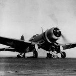 F4U-1 Corsair of VMF 213 on the catapult ready for launch from the auxiliary carrier USS Copahee ACV-12 March 29, 1943