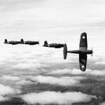F4U-1 Corsairs of VF-12 in flight on March 23, 1943