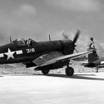 F4U-4 Corsair 318 of VMF-224 on Okinawa June 1945