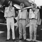 F4U Ace Pilots: Lt Cdr Roger Hedrick, Lt Cdr John Blackburn and Lt Ira Kepford of VF-17 Jolly Rogers 1944