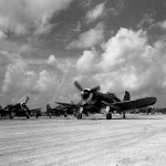F4U Corsair 018 of VMF-114 taxiing on an airstrip at Peleliu October 17 1944