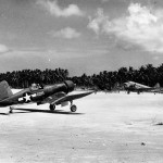 F4U Corsair 028 of VMF-223 taxis on the airstrip on Green Island on March 11 1944
