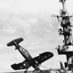 F4U Corsair 50 strikes the barricade USS Bataan CVL-29 December 9, 1944