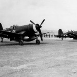 F4U Corsairs 108 of VMF-114 Kadena Airfield on Okinawa on August 9, 1945