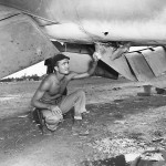 F4U Marine Pilot Lt Lowell Wilkerson Checks Damage to Corsair caused by Human Bomb Guam 1944