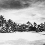 F4U of MAG 45 around tents on Falalop Island Ulithi Atoll – August 10, 1945