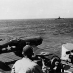 FG-1D Corsair 19 of VBF-1 launches from the deck of the carrier USS Bennington CV-20 – August 14, 1945