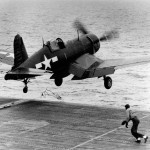 FG-1D Corsair of VMF-512 launching from the flight deck of the escort carrier USS Sargent Bay CVE-83 – June 2, 1945