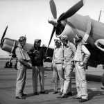 LtCdr Joseph Clifton and pilots of VF-12 stand in front of F4U-1 Corsair 1943