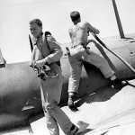 Marine Chance Vought F4U Corsair and Pilot Munda Field 1943