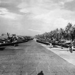 Marine F4U Corsairs on Bougainville Airfield 1944