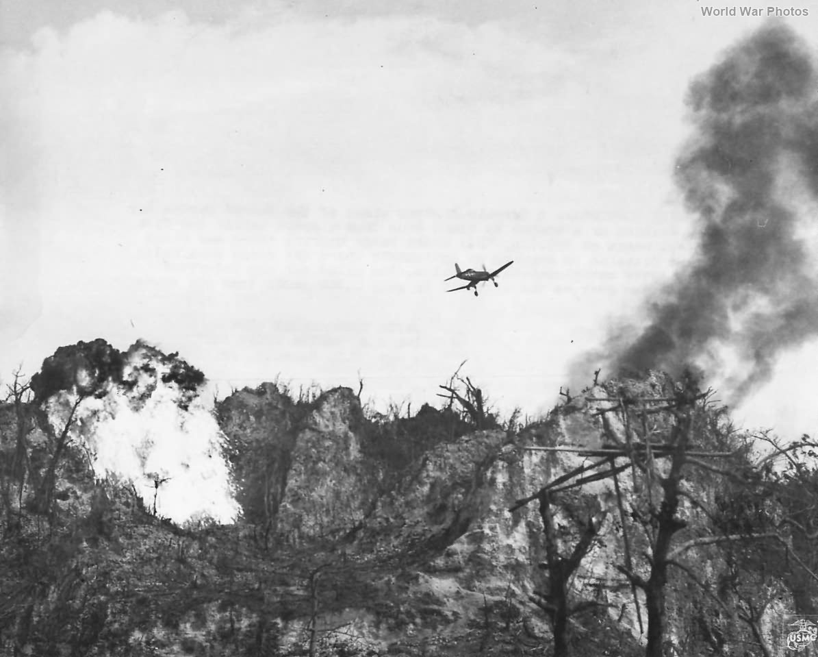 Corsair Blast Japanese Position at Five Sisters Peaks Peleliu