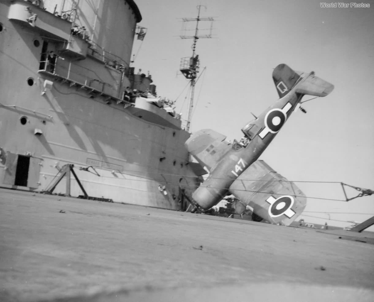 Crashed Corsair Mk II HMS Illustrious off Formosa March 1945