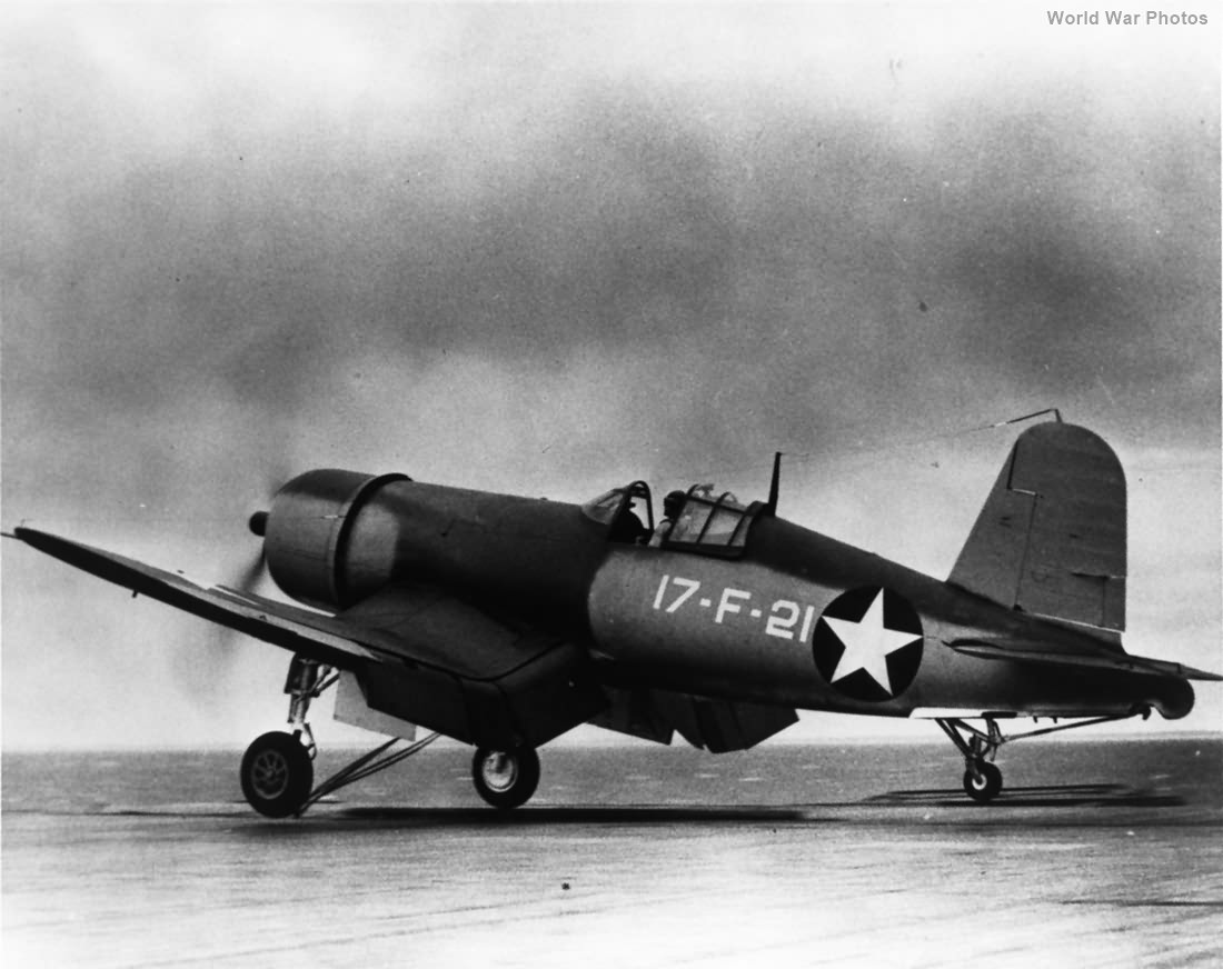F4U-1 17-F-21 of VF-17 aboard USS Bunker Hill 29 June 1943
