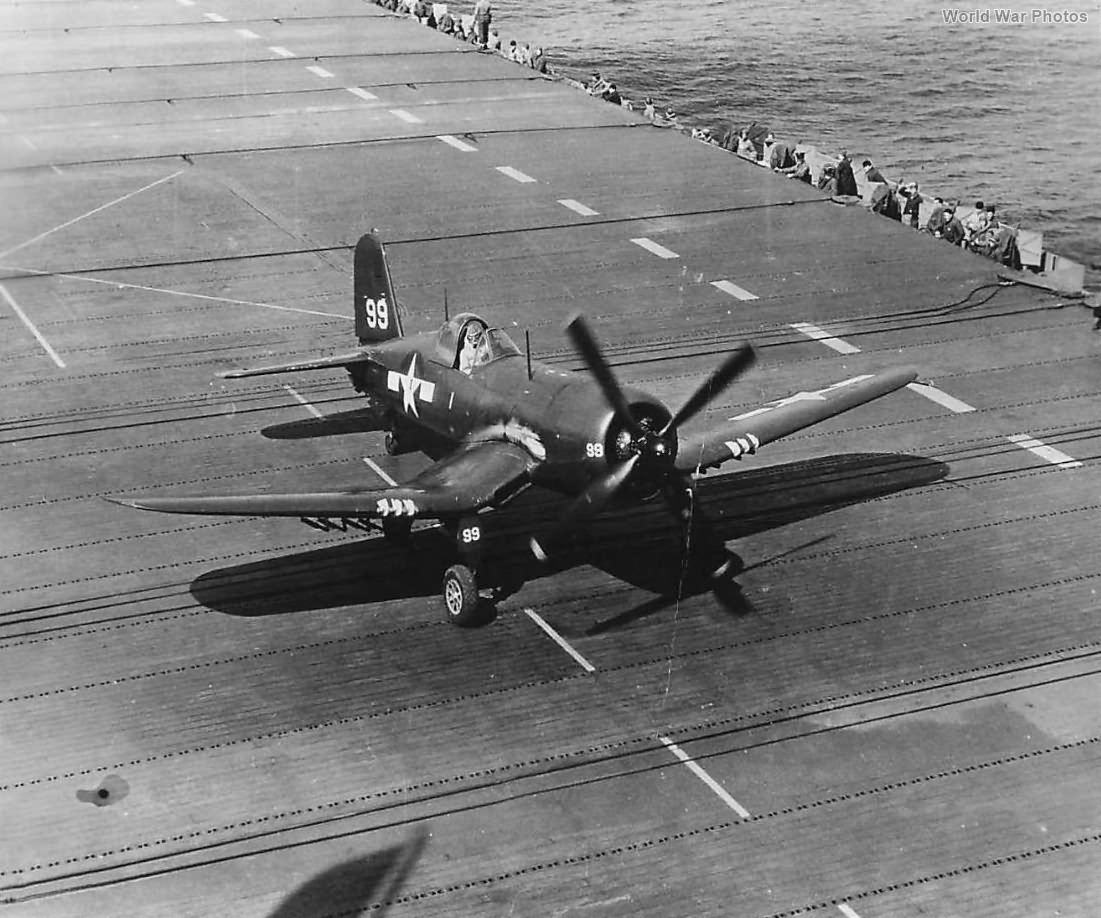 F4U-4 Corsair landing on deck of carrier 1945