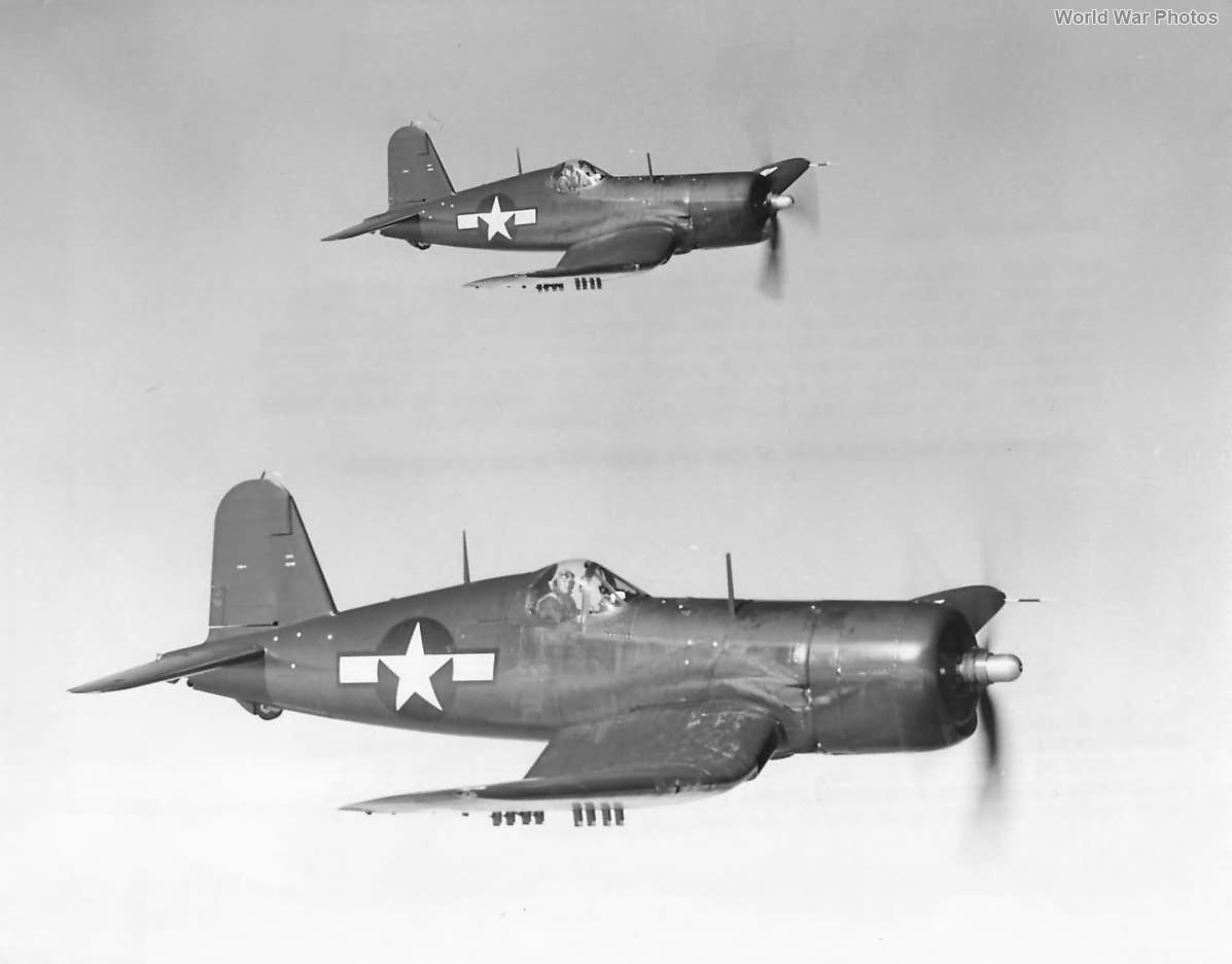 F4U-4 Corsairs in flight