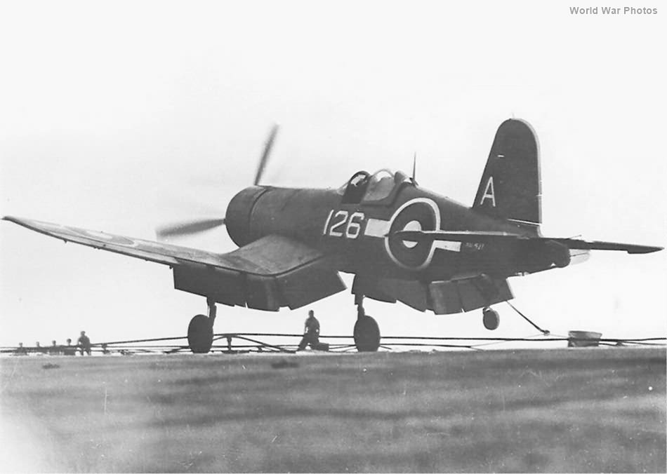 F4U 126 of No 1850 Squadron HMS Vengeance