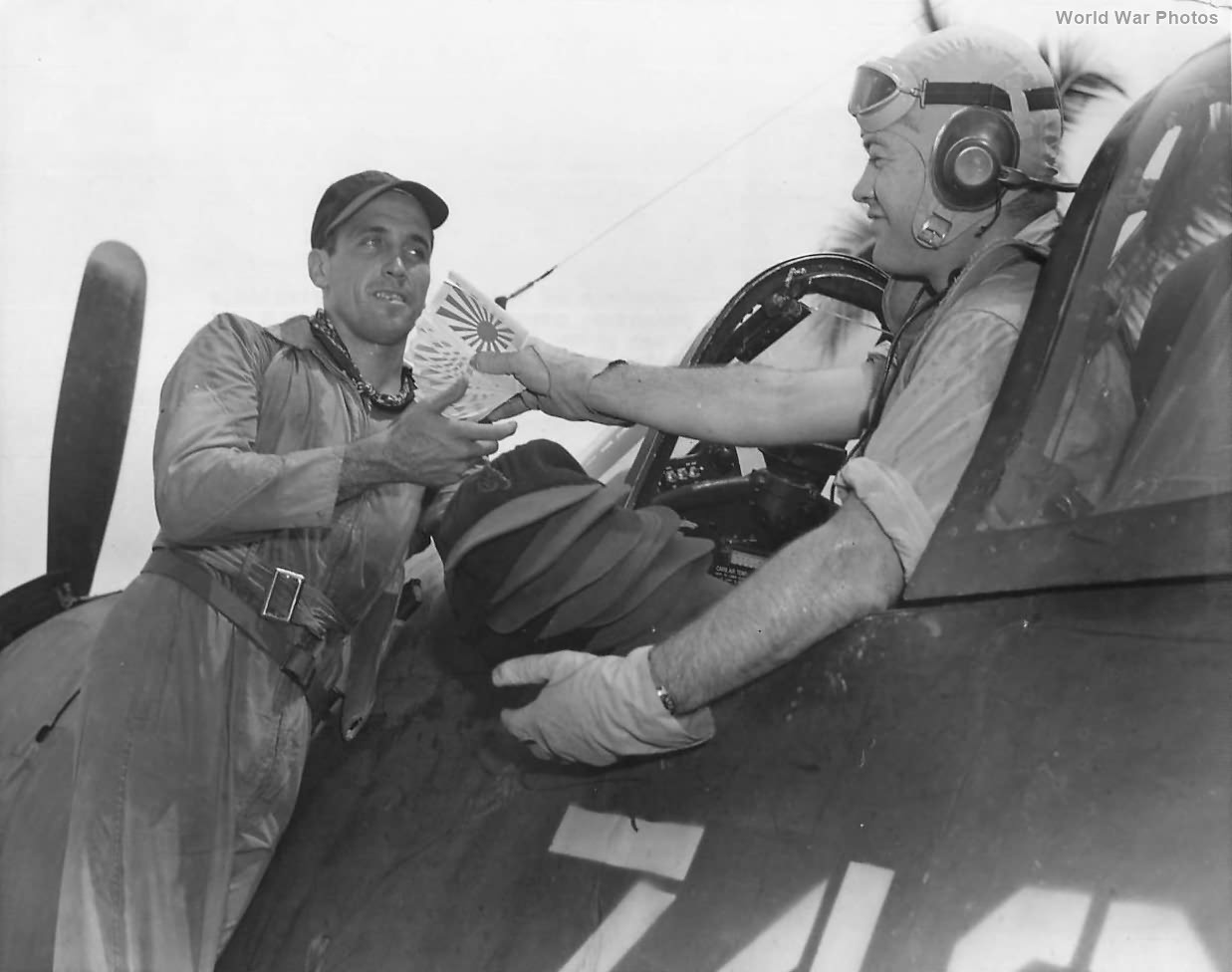F4U 17740 of VMF-214 and Ace Chris Magee with Pappy Boyington 1944
