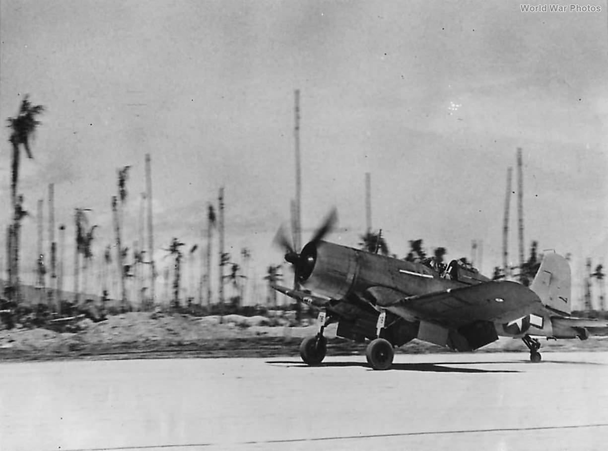 F4U piloted by Maj Robert Owen of VMF-215