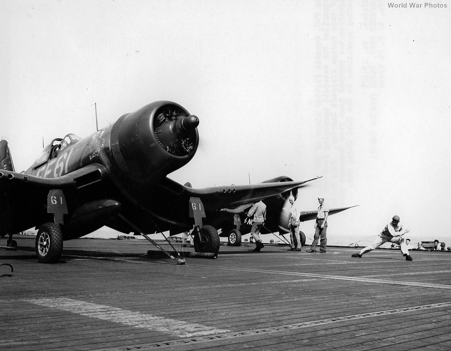 F4U-1D VMF-351 ready for launch from the USS Cape Gloucester China coast 1945
