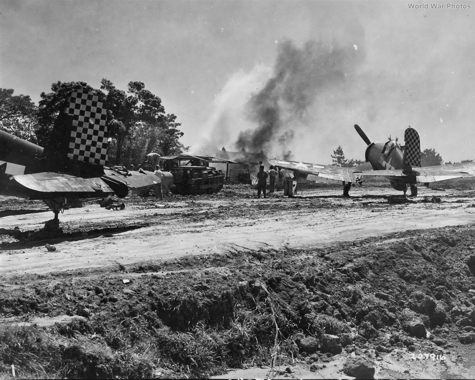 Marine F4U-1D of VMF-312 Kadena Okinawa 12 April 1945