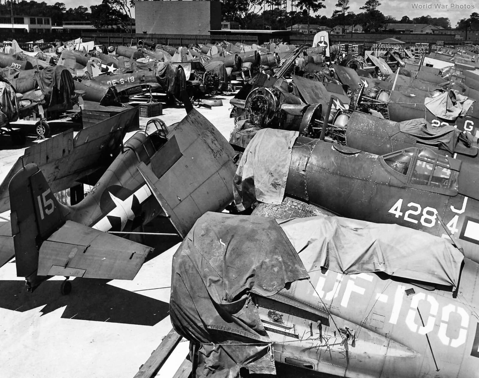 US Navy fighter depot with F6F, F4F and F4U