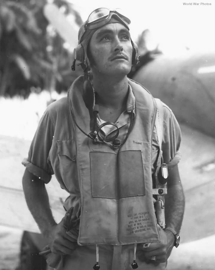 """VMF-212 """"Hell Hounds"""" Ace pilot J. P. Travers on Bougainville"""