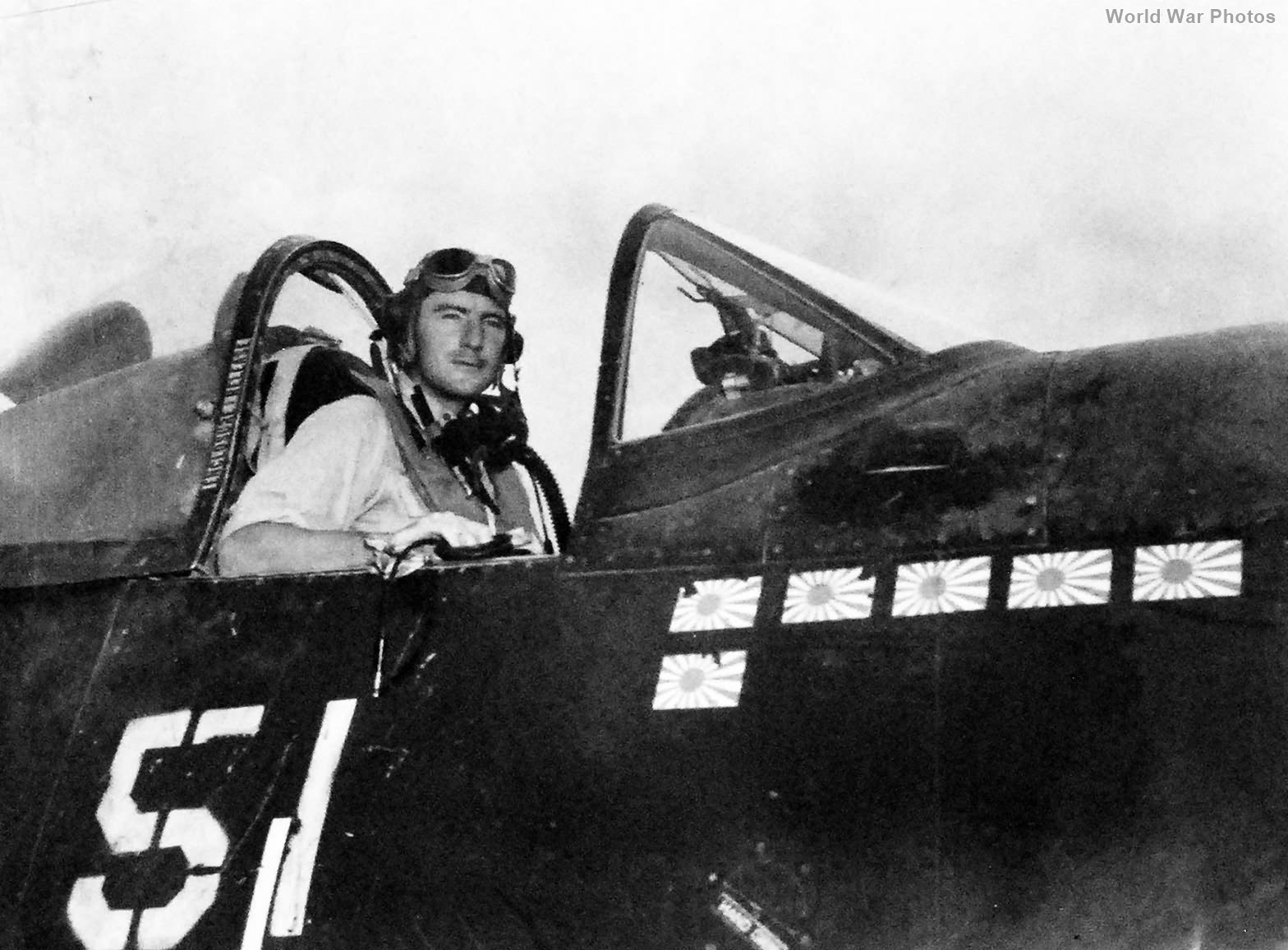 VMF-323 pilot Lt Wade in cockpit of a F4U May 1945