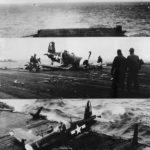 Corsair of VMF-123 crash landing on USS Bennington 1945
