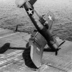 F4U-1 of VF-17 crashing on the flight deck of USS Bunker Hill