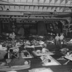 Marine Fighter Pilots Sleep on Hanger Deck of USS Santee F4U 1944