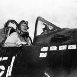 VMF-323 Lt Wade in cockpit of a F4U May 1945