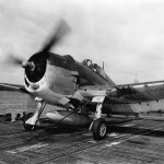 F6F-3 Hellcat #11 of VF-2 on the catapult on board the carrier USS Hornet CV-12 May 6, 1944
