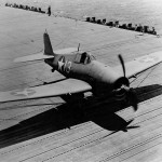 F6F-3 Hellcat #13 of VF-9 engages the barricade on board the carrier USS Essex CV-9 March 25, 1943