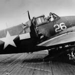 Damaged F6F-3 Hellcat #26 of VF-15 USS Hornet (CV-12) January 22, 1944