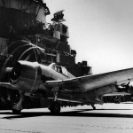 F6F-3 Hellcat #27 of VF-7 before launching from the flight deck of the carrier USS Hancock (CV-19) – June 27, 1944