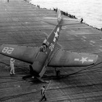 F6F-3 Hellcat #28 of VF-1 after engaging the barricade on the flight deck of the carrier USS Hornet CV-12 Battle of the Philippine Sea on June 19, 1944