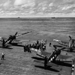 F6F-3 Hellcats of VF-16 on board the aircraft carrier USS Lexington CV-16 April 16, 1944
