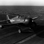 F6F-5N Hellcat 29 of VMF(N)-511 taxiing on the flight deck of the escort carrier Block Island (CVE-106) – February 4, 1945